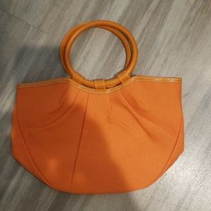 Neiman Marcus Orange Canvas Tote